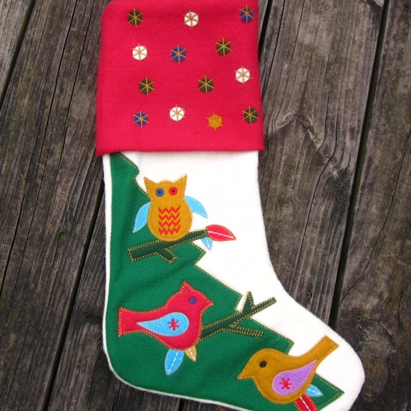 Jingles Joy Holiday Owl Cardinal Sparrow Red Felt Christmas Stocking Poshmark